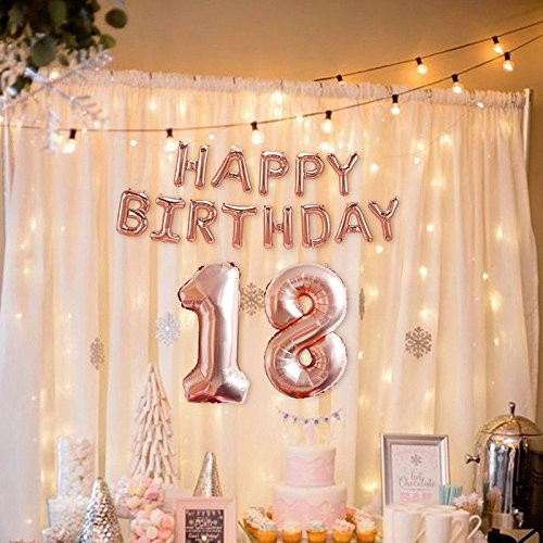 <font><b>18th</b></font> <font><b>Birthday</b></font> Balloon 40 Inch Giant Foil Balloon <font><b>Birthday</b></font> Party <font><b>Decoration</b></font> Set Rose Gold Silver 18 Balloons Adult Ceremony Decor image