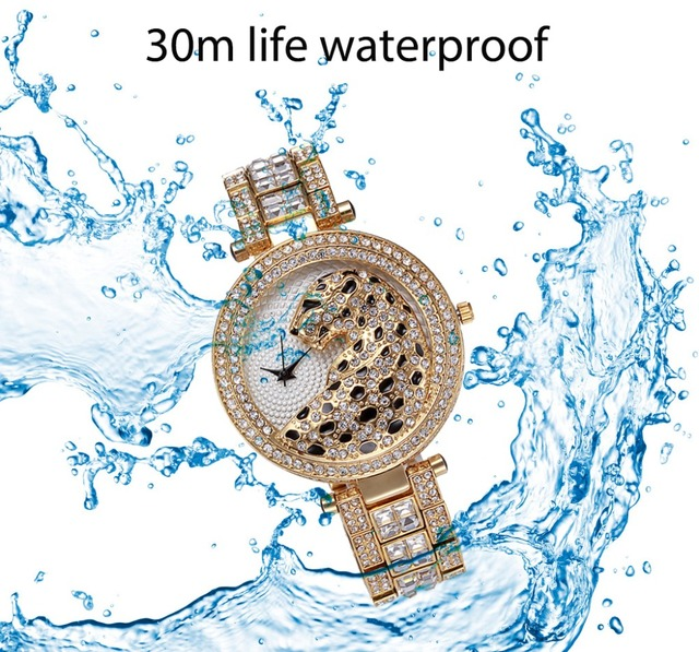 Missfox Women's Leopard Bling 18K Gold Plated Gems & Stones Diamond Female Waterproof Quartz Watches 4