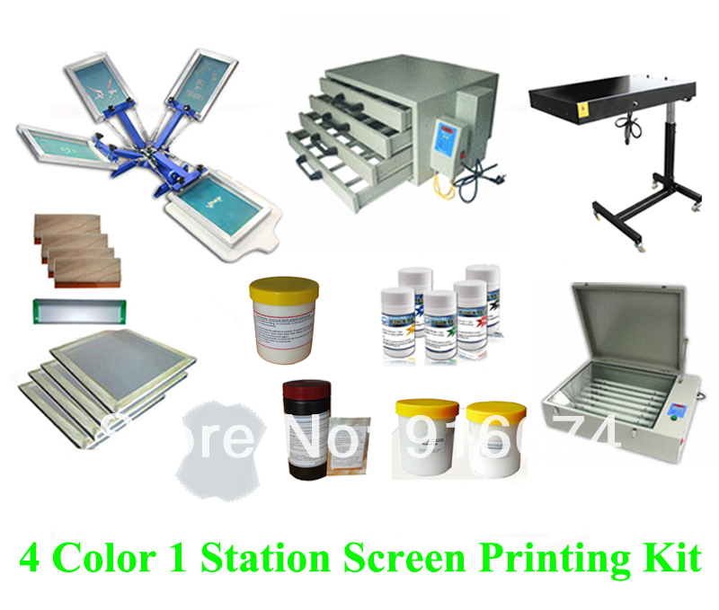 FAST FREE shipping Full set 4 color silk screen printing kit ink emulsion t-shirt printer press equipment UV exposure squeegee flsun 3d printer big pulley kossel 3d printer with one roll filament sd card fast shipping