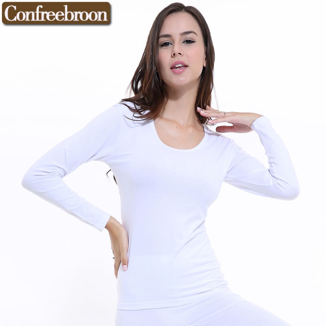 Women's Thermal Underwear Top Soft Elastic Bodysuit Modal Blending Cotton Female Thin Long Sleeve Warm Clothing In Winter 096