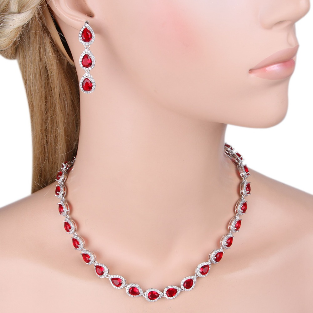 BELLA Fashion Red Cubic Zircon Droplet Bridal Jewelry Set Necklace ...