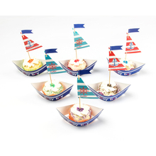 Pack of 20 Nautical Sailboat Birthday Party Cake Topper  Ahoy Cupcake Wrapper Baby Shower Boy Birthday Decor 2018 new