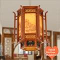 Новый китайский стиль кофе Резное Дерево Искусство подвесные светильники Ностальгический пейзаж живопись лампа для бара и коридора и крыл...