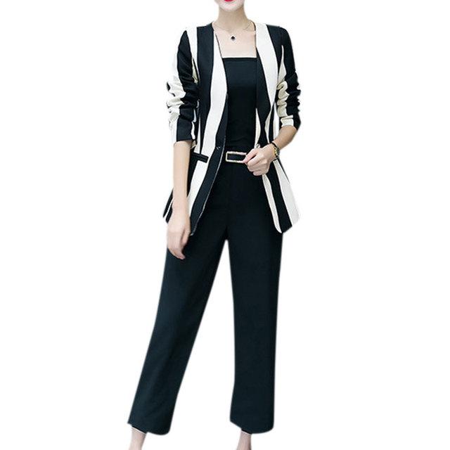 Terninhos Kit Outono de 2017 Senhora Do Escritório de Moda Listrado Ternos Jaqueta Blazer Feminino das Mulheres Largas Calças Perna Calças Terno de Negócio
