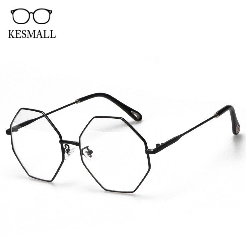 KESMALL New Alloy Optical Spectacle Frame Women Fashion Polygonal Myopia Eyeglasses Frames Men Computer Gaming Eyewear XN908