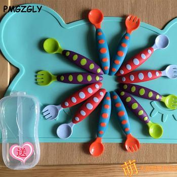 Zastawa stołowa dla niemowląt łyżki dla niemowląt łyżka dla niemowląt łyżka dla niemowląt łyżka dla niemowląt urocza zastawa stołowa karmienie niemowląt naczynia z opakowanie detaliczne tanie i dobre opinie Sztućce Dzieci KEYBOX 19-24 M 13-18 M 7-9 M 10-12 M 4-6 M Silikonowe Ce ue Lfgb Utensils BPA za darmo Lateksu Język naciskając typu