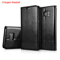 Orange S Seashell Flip Leather Case For Samsung Galaxy S7 G9300 Wallet Phone Bags For Samsung