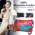 2016 New Sheepskin Soft Patchwork Chain Crossbody Bags For Women Flap Genuine Leather Women Messenger Bag Ladies SAC A MAIN