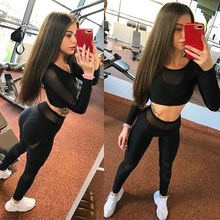 2019 Sexy Mesh Splice Women Black Fitness Leggings Transparent  Push Up Elastic Breathable Sporting Pants