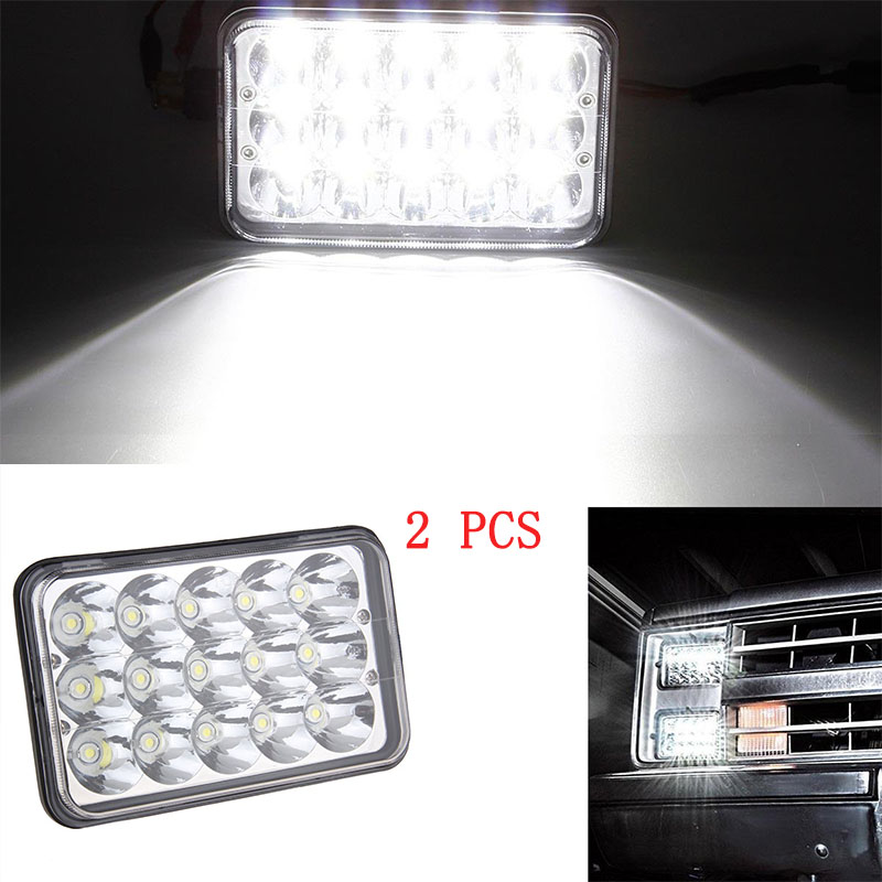 US $54 87 7% OFF|4x6 INCH led headlight 45W Rectangle LED Headlights H4  Headlamp Hi Lo Sealed Beam Replace H6545 H4651 H4652 H4656 H4666-in Car