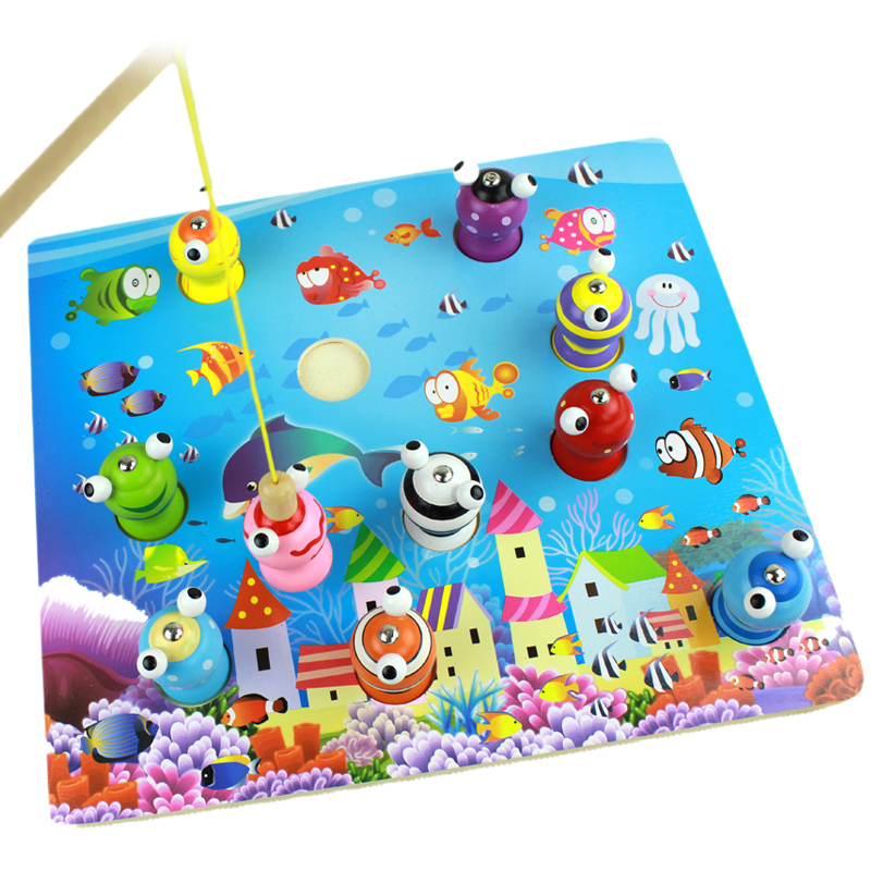 Baby Toys Wooden Magnetic Fishing Game Toys Child 3D Fishing Platter Puzzle Magnetic Educational Wooden Toys