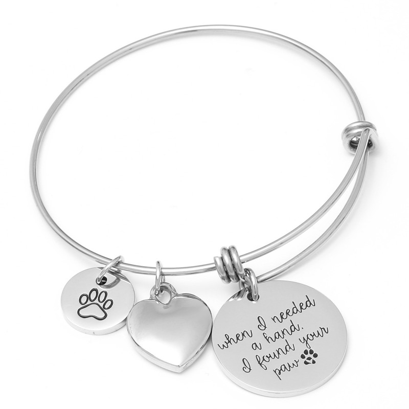 Stainless Steel Paw Charms Bracelet Heart Crystal Inspirational Quotes Wire Bangles Women Fashion <font><b>Jewellery</b></font> Gift <font><b>Dog</b></font> <font><b>Cat</b></font> Lover image