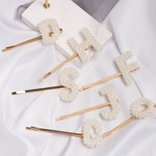 Xugar Hair Accessories Pearl Letter Clips BB Barrettes For Woman Girls Mental Bangs Alloy Hairpins