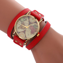 2017 Red Women's Watches Fashion Casual Quartz Wristwatches PU Leather Strap Bracelet Watches Ladies Relogio Feminino World Map