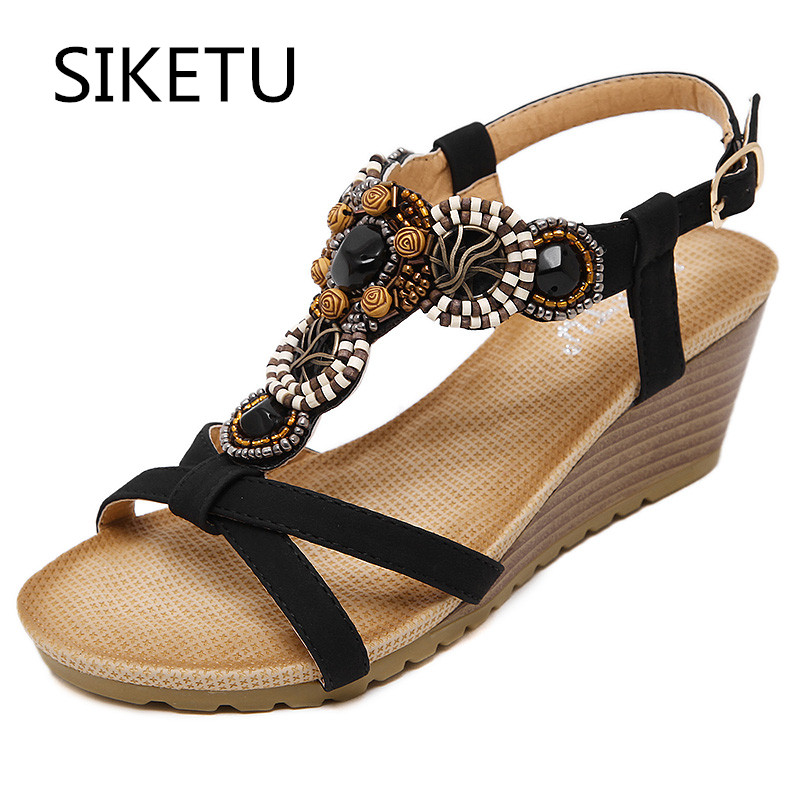 SIKETU New Arrival Women Sandals Wedges Shoes Casual Shoes Women Beading  Bohemia Fahion High Heels Plus 458f27048c3c