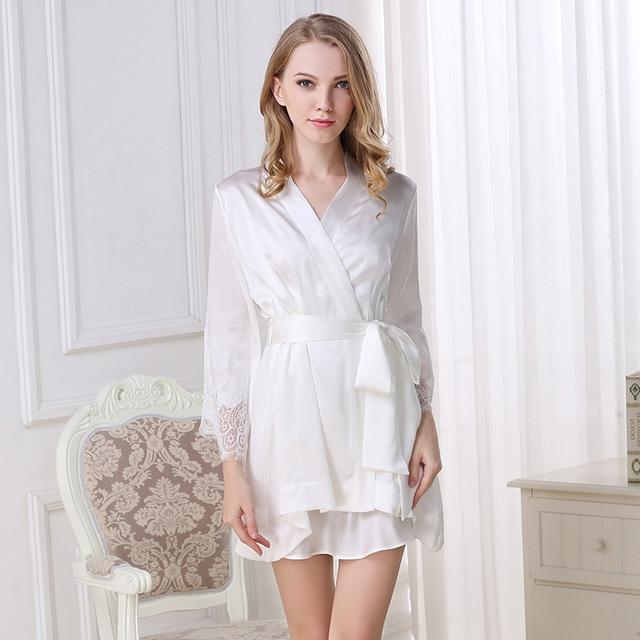 100% Auténtica Seda Albornoz Robe Sets de Dos Piezas Mujeres Satén de Seda Encaje Sexy V Cuello Camisones Mini Camisón de Seda ropa de dormir S5504