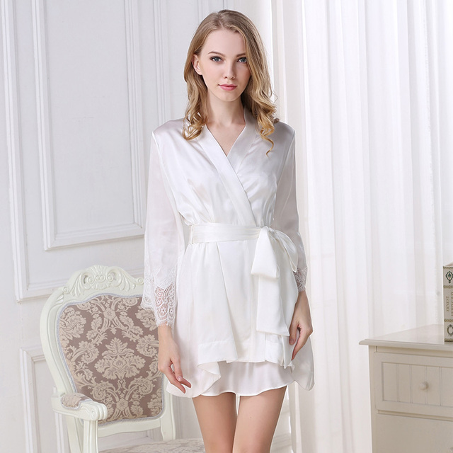 100% Genuine Silk Bathrobe Two-Piece Women Satin Silk Robe Sets Sexy Lace V Neck Nightgowns Mini Silk Nightdress Sleepwear S5504