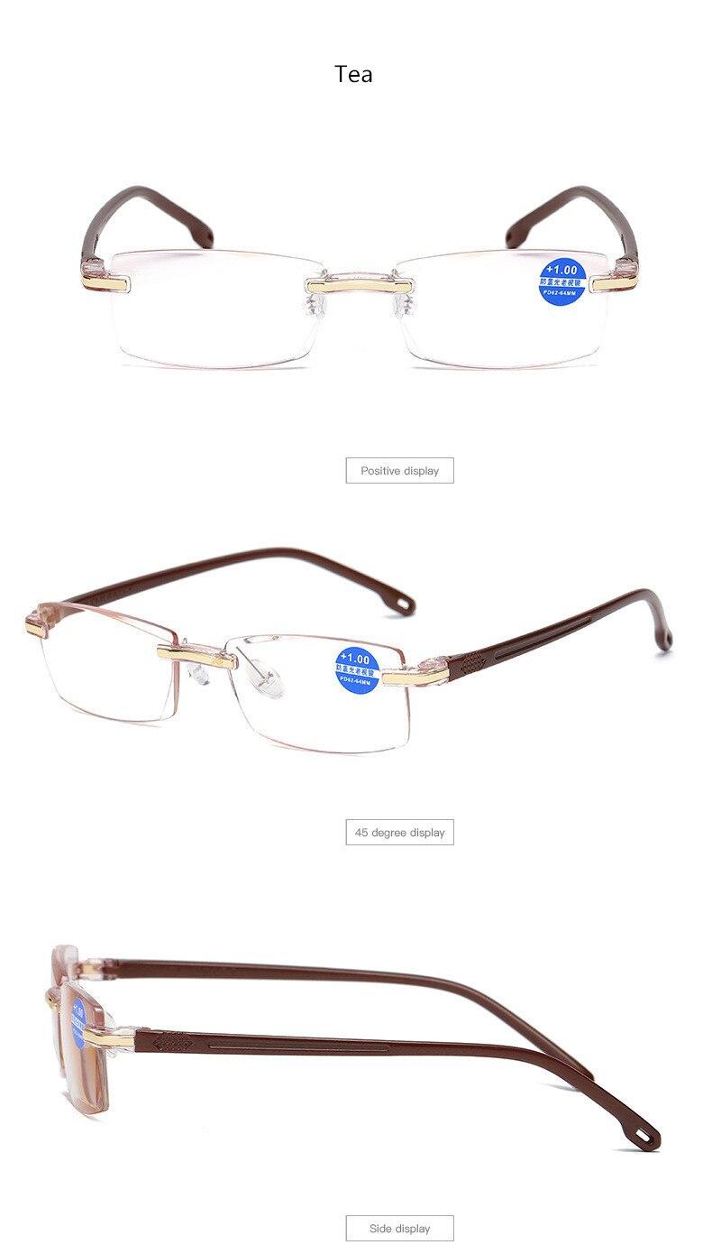 Fashionable Men & Women Frameless Reading Glasses TR90 Plastic Titanium  Diamond Cut Reading Glasses Anti-Blu-ray +1 00 to +4 00