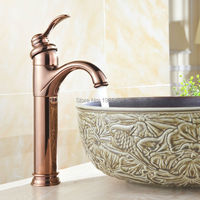 New Arrival Basin Rose Golden Faucets Antique Brass Deck Mounted Mixer Taps RS305