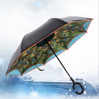 Unique Inverted Drip Free Vehicle Reflective Strip Safety Car Umbrella Sun And Rain Umbrellas Auto close Reverse Umbrella
