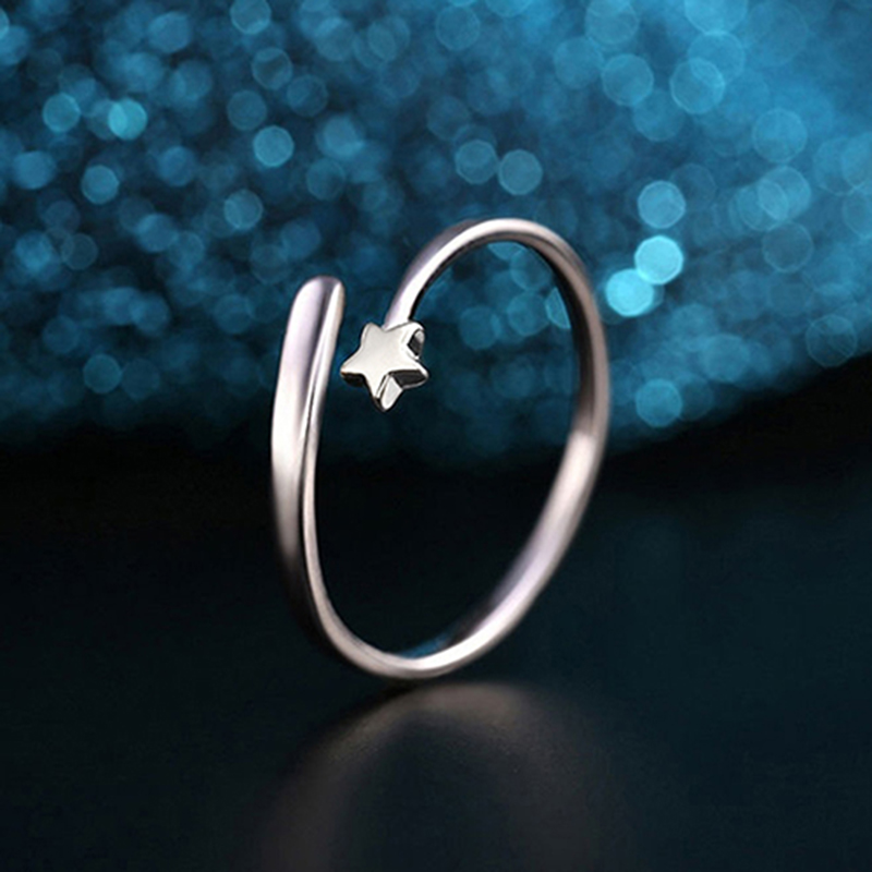 ᗔnew Design Silver Color Star Shaped Rings For Women Charm Opening