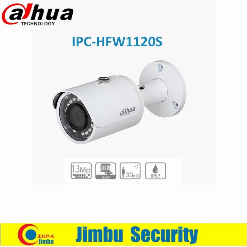 Dahua 1.3MP IR Mini-Bullet IP Camera DMSS fixed lens 3.6mm IR 30m IP67, PoE Network CCTV amera IPC-HFW1120S free shipping dahua cctv camera 4k 8mp wdr ir mini bullet network camera ip67 with poe without logo ipc hfw4831e se