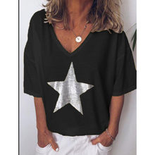 2019 New Fashion T shirt Women Sequins V-Neck Five-pointed star Tops Tees Female Short Sleeve Street Ladies Plus size code S-5XL(China)