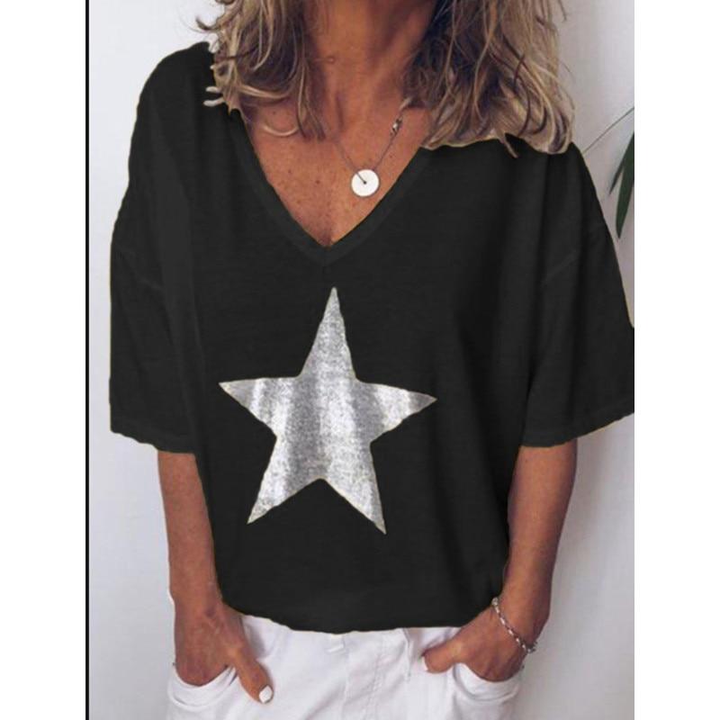 2019 Новая модная футболка женская с блестками v образным вырезом пятиконечная звезда женские футболки с коротким рукавом уличные дамы плюс размер код S 5XL