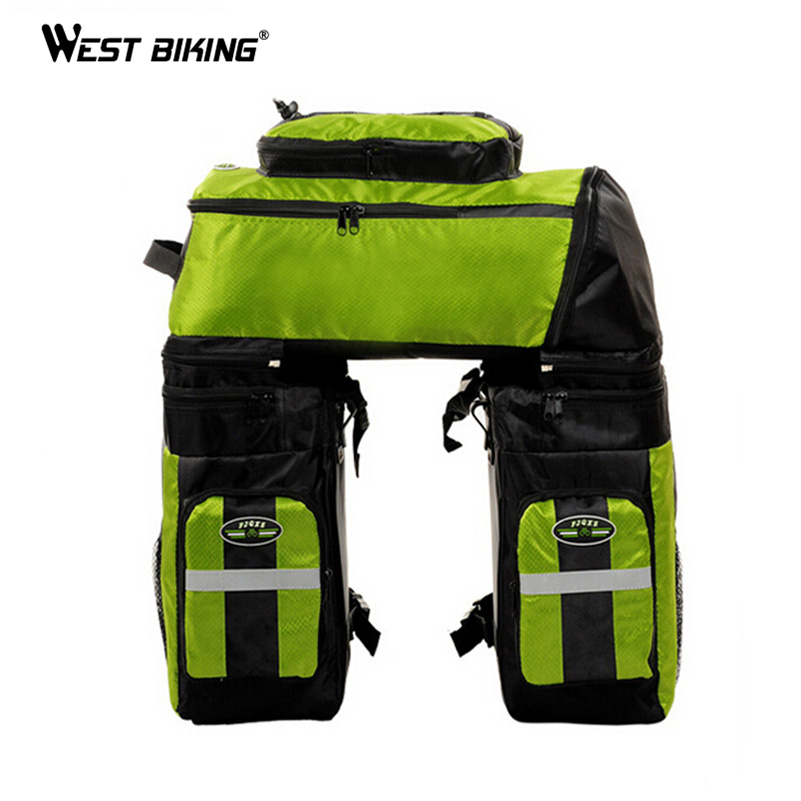 WEST BIKING 65L Waterproof Cycling Bag Bicycle Rack Bag Long Journey Luggage Mountain Bike Pannier Cycling Bags +Rain Cover roswheel 50l bicycle waterproof bag retro canvas bike carrier bag cycling double side rear rack tail seat trunk pannier two bags