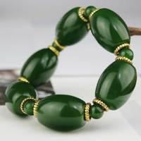 KYSZDL Gros Hetian yu baril perle bracelet hommes dominateur vert/blanc et rouge pierre bracelet bijoux cadeaux
