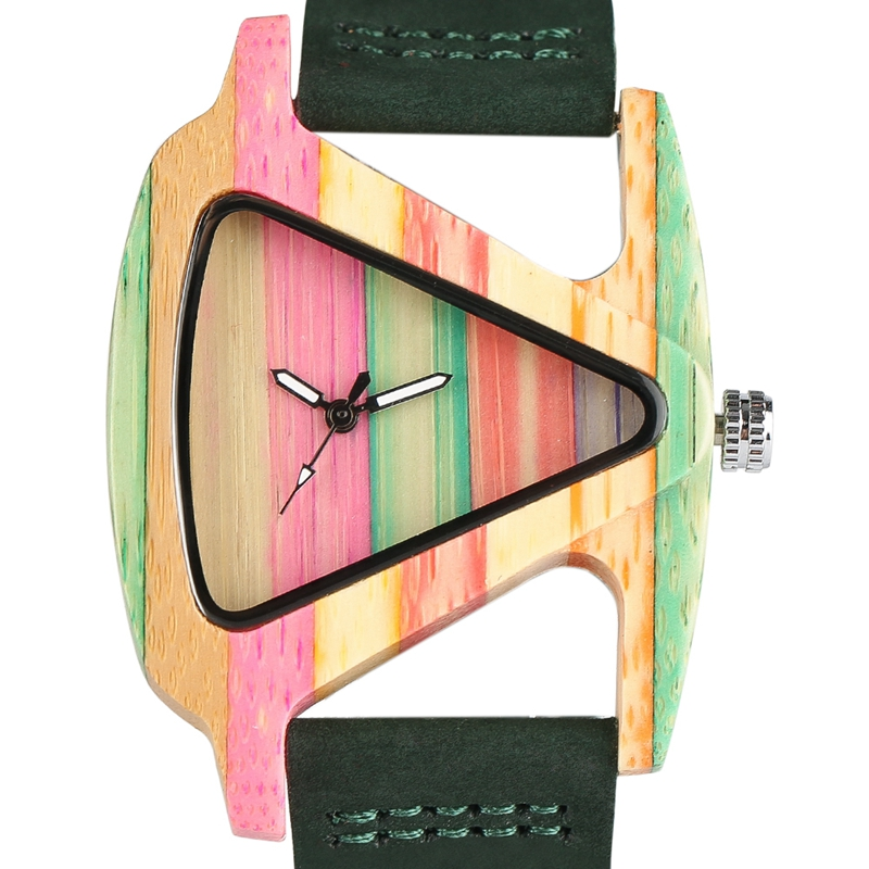 YISUYA Women Watches Nature Colorful Bamboo Wood Watch Lady Genuine Leather Watch Strap Unique Triangle Design Wooden Clock yisuya inverted triangle bamboo wood wrist watch men top brand genuine leather band strap quartz creative watches wooden clock