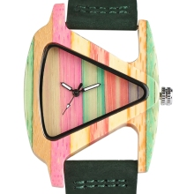 YISUYA Women Watches Nature Colorful Bamboo Wood Watch Lady Genuine Leather Strap Unique Triangle Design Wooden Clock