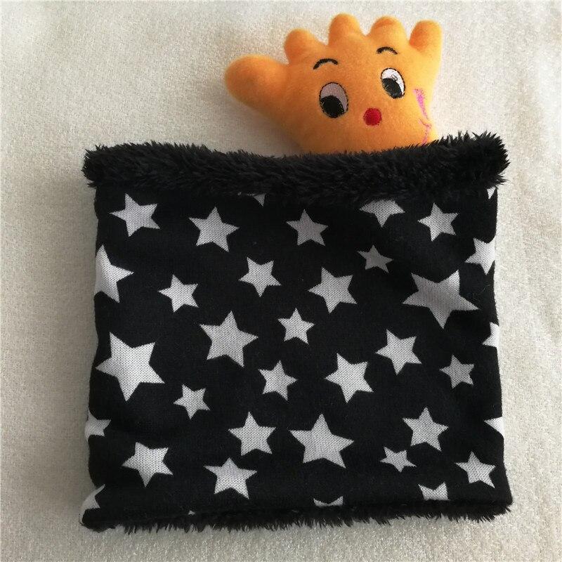 Новинка; зимний шарф с кругами; Детские шарфы; пять звезд; нагрудник для мальчиков и девочек; хлопковый Детский шарф; мягкие теплые шарфы с кольцом - Цвет: White stars