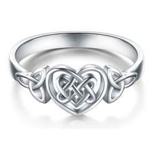 Simple Women Carved Hollow Love Heart Celtic Knot Finger Ring Party Jewelry(China)