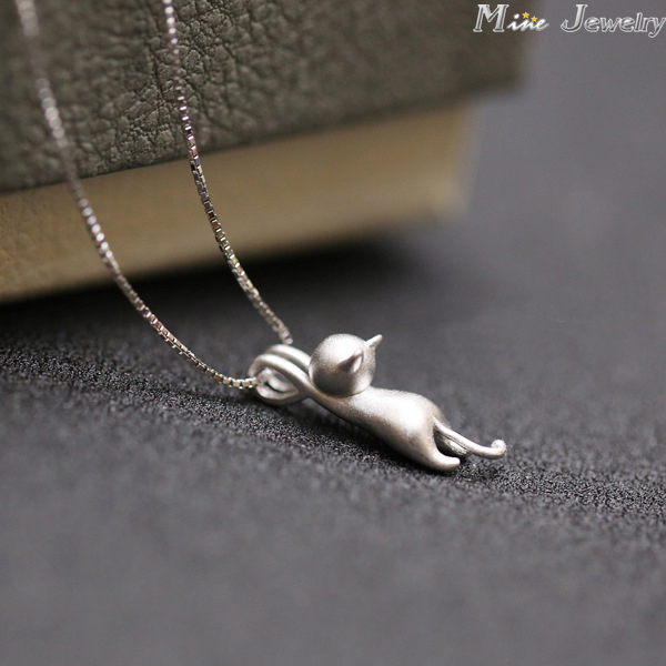 Free Shipping Fashion 925 Sterling Silver Cat Necklace Animal Small Cat Necklaces For Women Jewelry
