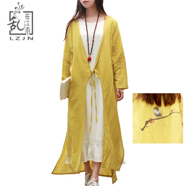 Lark 2018 Cardigan Coat Points Cotton Coat Women Shirt Yellow Tops Summer Loose Linen Blouse Drawing Sleeve Trench Spring Hand 9 cw41rwW0q