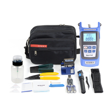 12 In 1 Fiber Optic FTTH Tool Kit with FC 6S Fiber Cleaver and Optical Power Meter 5 30km Visual Fault Locator Wire stripper