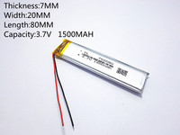 10pcs [SD] 3.7V,1500mAH,702080 Polymer lithium ion / Li ion battery for TOY,POWER BANK,GPS,mp3,mp4,cell phone,speaker