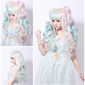 long lolita wig ponytails pink blue beige rainbow wigs women hair heat resistant full bang synthetic wavy wig cosplay anime wigs