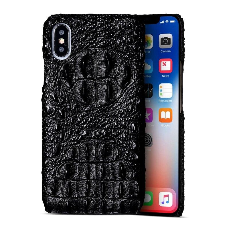 Crocodile crâne En Cuir Véritable étui de protection Pour iPhone X XS XSmax XR 6 7 8 8 plus personnalité Rétro téléphone cas