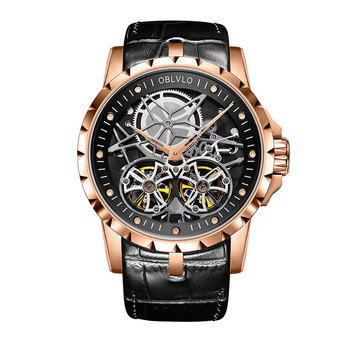2019 OBLVLO Mens Military Watches Automatic Watches Waterproof Rose Gold Skeleton Watch Brown Leather Strap Montre Homme OBL3606 - OBL3606RSBB