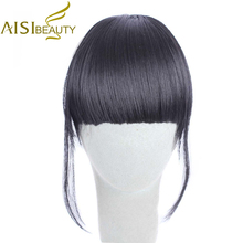 AISI BEAUTY High Temperature Fiber Silky Straight Synthetic Hair Fringe Clip in Bangs Extension for Women
