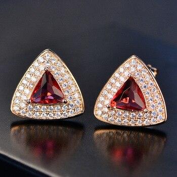 5c912c511603 S925 plata esterlina Pendientes de broche para las mujeres vintage rubí  triángulo piedra roja Joyería fina nupcial boda pendientes bijoux femme