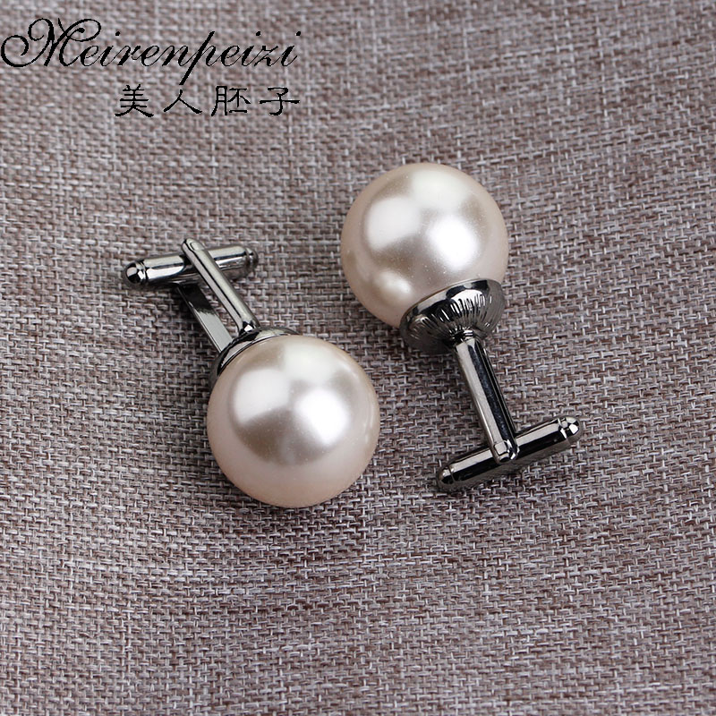 Vintage Beads Cufflinks For Men Women Round White Imitation Pearl Cuff Link Business Suit Cuff Buttons Wedding Party Gift