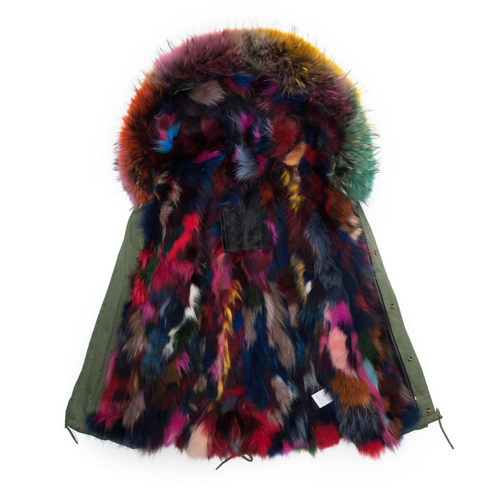 Bright colorful color real fox fur jacket with comfortable ...