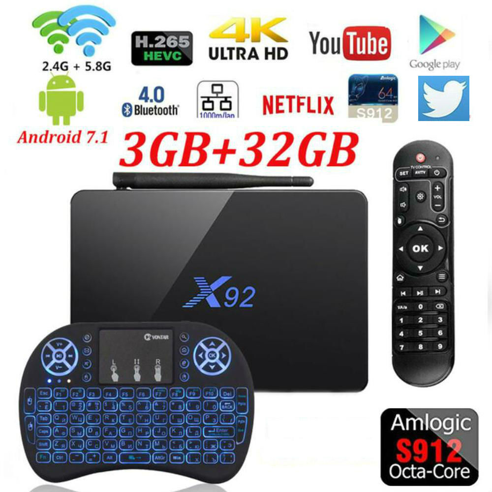 Vontar X92 Amlogic S912 Android 7.1 TV Box 2GB/3GB 16GB/32GB Octa Core KD Player Fully Loaded 5G Wifi X92 Smart Set Top Box