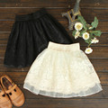 Summer Woman Skirt Elastic Waist Sexy Lace Puff Short Skirts Embroidered Lace Girls Bust Ball Mini Skirt Tutu Skirts Beige Black