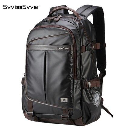 Svvisssvver 다기능 가죽 배낭 남성 가방 패션 방수 여행 usb 충전 15.6 인치 노트북 배낭 남자-에서백팩부터 수화물 & 가방 의  그룹 1