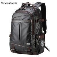 svvisssvver multifunction leather backpack male bag fashion waterproof travel usb charging 15.6 inch laptop backpack men