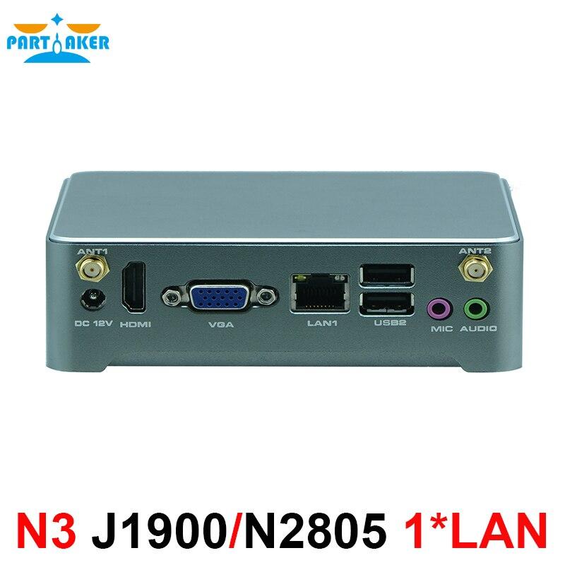 Mini PC Windows 10 Intel J1900 N2805 I3 4020Y Fanless Barebone Mini Computer 2 Lan HTPC TV Box Nano Industrial Mini PC VESA N3